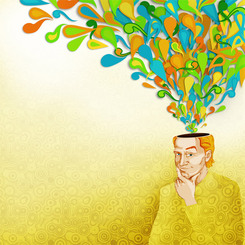 Colorful Illustration of a Young, Thoughtful Man