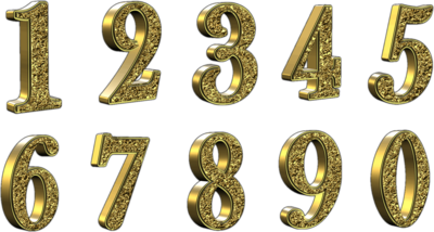 Golden 3D Numbers With Transparent Background PSD