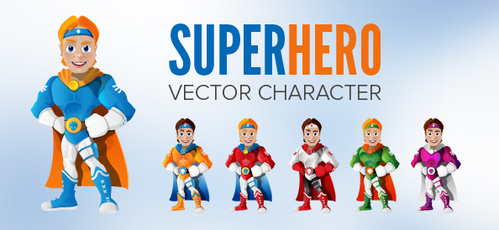 Handsome Superhero Vector Character