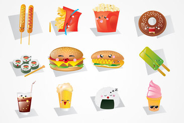 Cute Kawaii Fast Food Vector Graphics (Free)