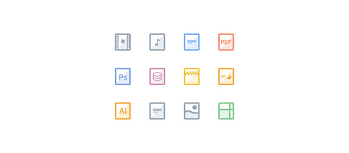 12 Colorful Square File Icons Set