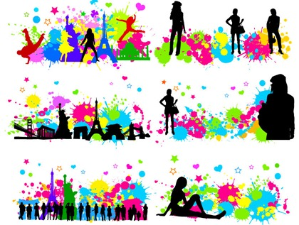 Free City Character with Colorful InkBlot