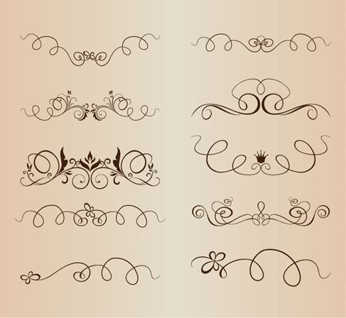 Vector Set of Vintage Calligraphic Elements