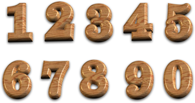 3D Polished Wooden Numbers With Transparent Background PSD