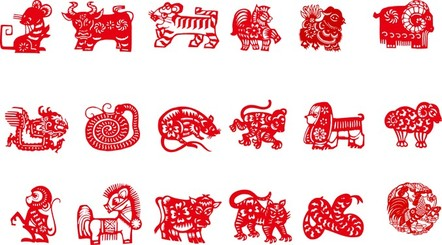 Vector Of The Nine Chinese Traditional Papercut Animals
