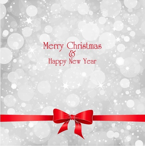 Lights on Grey Background with Red Ribbon Christmas
