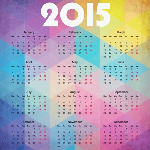 2015 Calendar on Colorful Background