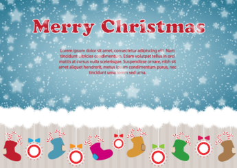 Christmas Illustration Card Design with Ornaments, Santa's Boot on Snow Background