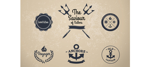 Nautical Vintage Style Labels Vector Set