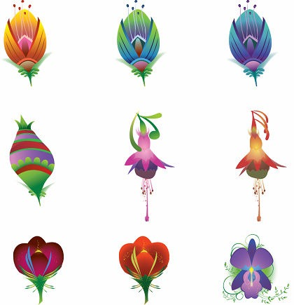 9 Illustrated Vector Flowers