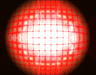 3D Glowing ball of red light squares PSD