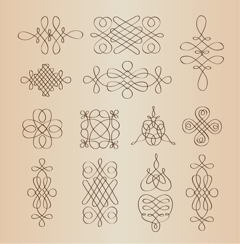 Vector Set of Calligraphic Decorative Design Elements
