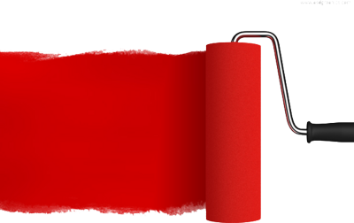 Red paint roller PSD