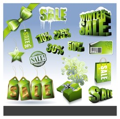 sales discount green icon