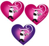 Vector Valentine's Day Labels for Love Heart in Pandas