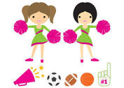 Cheerleaders with Pom Poms Vector Pack