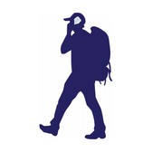 Backpacker with Phone Vector Silhouette