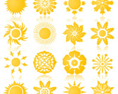 Sun Symbols or Icons Collection Vector Set