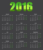2016 Calendar with Low Poly