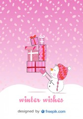 Christmas Snowman Card in Happy Pink Background