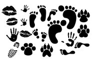 Lip Print Footprints Shoe Prints Fingerprint
