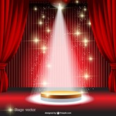 Red curtain spotlight stage
