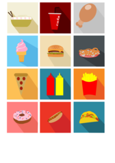 Fast Food Long Shadow Icons