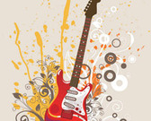 Electric Guitar with Artwork Background