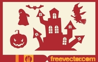 Halloween Stuffs Red Silhouette