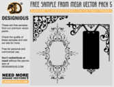Flowers and Wrought Iron Signboard Vector Designs