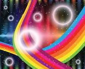 Shiny Circles Rainbow Stripes Abstract Background