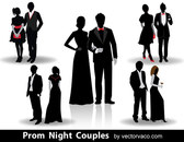 Prom Night Couples Vector Silhouettes