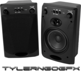 2 Black Speakers PSD