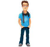 Boy Vector Character with Scarf