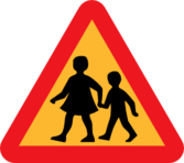 Child And Parent Crossing Road Sign