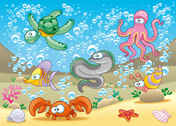 Cartoon marine animals vector background001