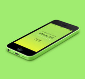 3D View iPhone 5C Psd vettoriale Mockup
