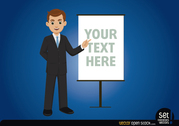 Businessman with message board