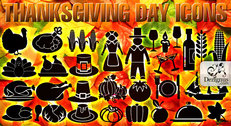 Thanksgiving day vector symbols