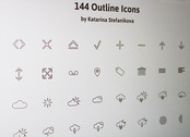 144 outline icons PSD + AI EXCLUSIVE