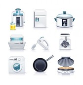 9 Realistic Kitchen Appliances Vector Icons