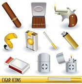 Smoking Lighters Cigars Cigarettes Vector Icons