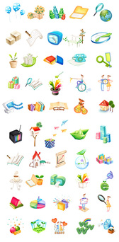 Balloons, Blocks, Gifts, Pencils, Chairs, Clocks, Keys, Magic Wand, Lotus, Seed Icon