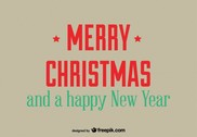 Retro greeting card of merry christmas and a happy new year