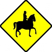 Caution Horse Ridder Crossing