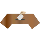 Ballot box front with hand