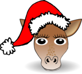 Funny Giraffe Face Cartoon with Santa Claus hat
