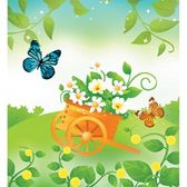 Summer Flowers and Butterfly Vector Art