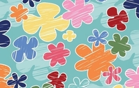 Children's crayon flower vector pattern- Free