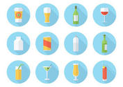 Free Flat Drink Vector Icon Set